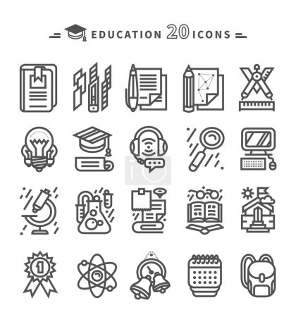 Illustration for Set of black education thin, lines, outline icons. Items for study ruler, pencil, microscope, backpack, computer, flasks, glasses on white background. For web and mobile applications - Royalty Free Image