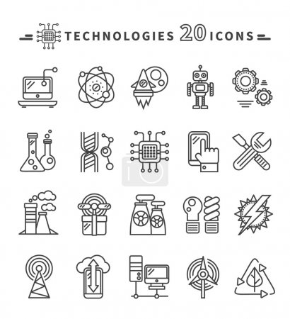Illustration for Set of technologies black thin, lines, outline icons for energy, robotics, communications, environment, aerospace, mechanical engineering on white background. For web construction, mobile applications - Royalty Free Image