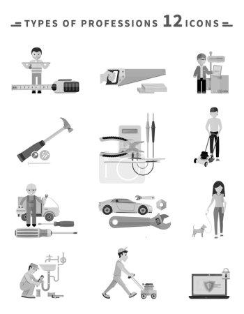 Icons Set of Tools Series Black on White