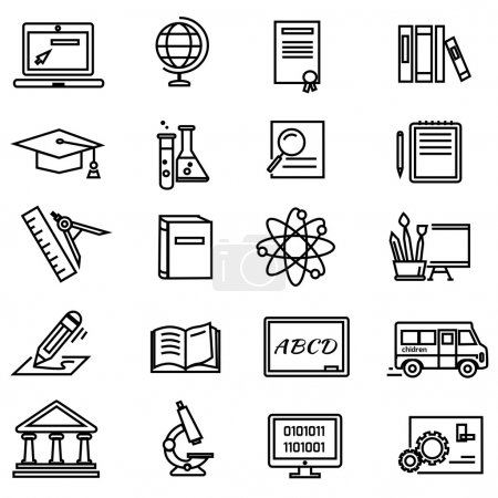 Lines Education Icons on White Background