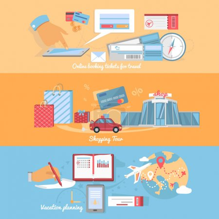 Illustration for Concept of planning and organization of travel and holidays. Vacation and shopping tour, online booking, adventure planning, tourism organization, globe journey illustration - Royalty Free Image