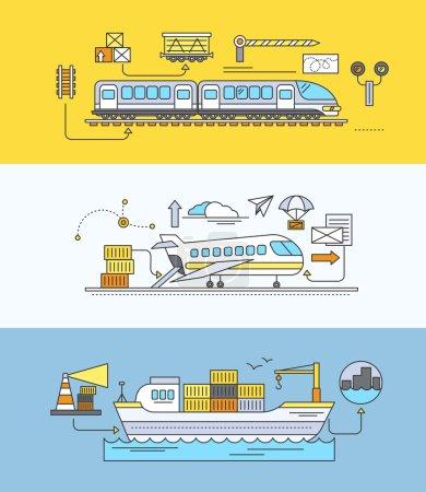 Illustration pour Concept de transport ferroviaire de marchandises par voie maritime et aérienne. Livraison de transport, industrie d'importation d'expédition, distribution et logistique, transport ferroviaire d'exportation. Ensemble de fines, lignes, contour des icônes plates - image libre de droit