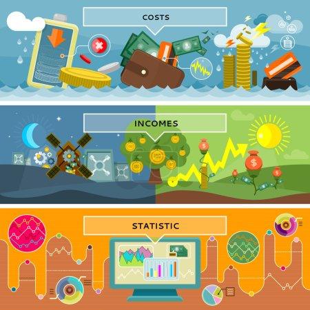 Illustration pour Financer les coûts et les revenus statistiques. Monnaie et affaires, bénéfices et investissements, liquidités de croissance, monnaie bancaire, paie et marché, rapport comptable, comptabilité et illustration de crédit - image libre de droit