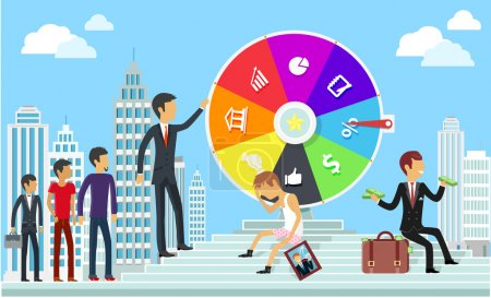 Illustration for Wheel of business fortune concept. Success gambling, win game, jackpot lottery, achievement and motivation, failure and challenge, triumph successful, finance ambition illustration - Royalty Free Image