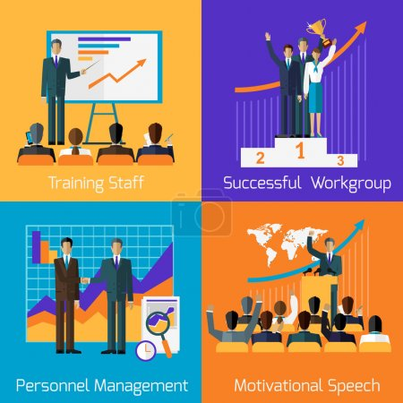 Illustration for Business training set. Succefull motivational managment.  Workgroup personnel speech motivation, success leadership, strategy education, goal and learn knowledge, career illustration - Royalty Free Image