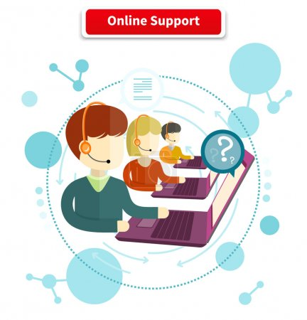 Illustration for Online support. 24h all the time customer support center via phone mail operator service icons concept. Support, online chat, online help, online, live chat, live support, customer service - Royalty Free Image