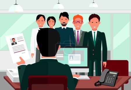 Illustration pour Embaucher un entretien de recrutement. Regardez CV employeur candidat. Hands Hold CV profil choisir parmi un groupe de gens d'affaires. RH, recrutement, nous embauchons. Poste de candidat. Embaucher et interviewer - image libre de droit