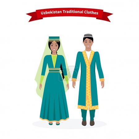 Illustration for Uzbekistan traditional clothes people. Clothing hat beautiful, folk tradition, uzbek ornament, girl ethnicity, woman dress, person east and culture asian illustration - Royalty Free Image