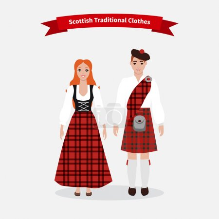 Scottish traditional clothes people. Culture scotl...