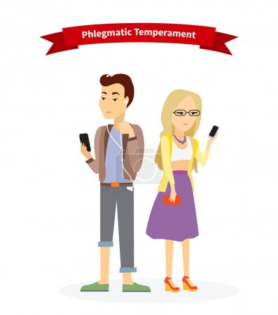 Phlegmatic temperament type people. Serious man an...