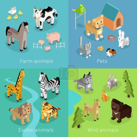 Illustration for Wild exotic and farm animal set isometric. Pet dog bird, animals vector, cartoon animals, cat and lion, horse and tropical wildlife, mammal creature illustration. Isometric animal set - Royalty Free Image