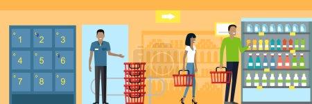 Illustration pour Les gens dans le design d'intérieur de supermarché. Achats de personnes, achats de supermarchés, marketing, intérieur de magasin de marché, client dans le centre commercial, illustration de magasin de détail - image libre de droit