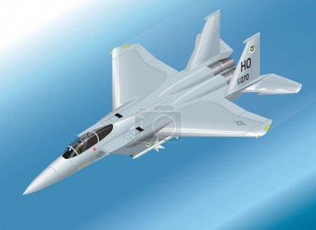 Detailed Isometric Vector Illustration of an F-15 Eagle Jet Fighter Airborne