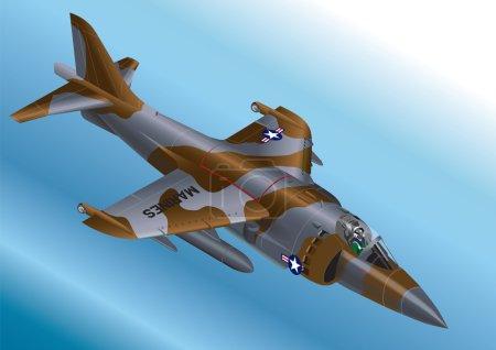 Detailed Isometric Vector Illustration of a US Marine Corps AV-8A / AV-8B Vertical Take Off Jet Fighter