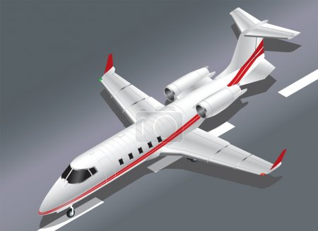 Detailed Isometric Vector Illustration of a Learjet 60 Private Jet Taking Off