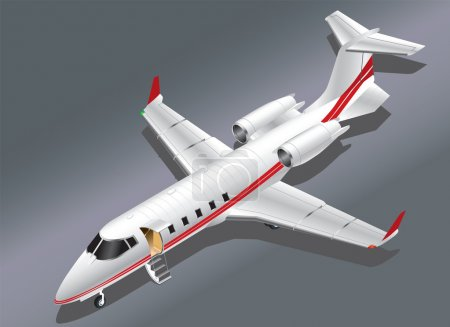 Detailed Isometric Vector Illustration of a Learjet 60 Parked for Boarding