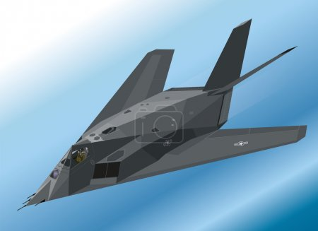 Detailed Isometric Illustration of an F-117 Nighthawk Stealth Fighter Airborne