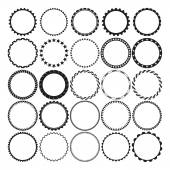 Collection of Round Decorative Border Frames with Clear Background Ideal for vintage label designs