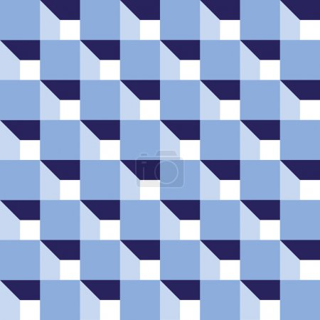 Seamless abstract blue cube pattern background