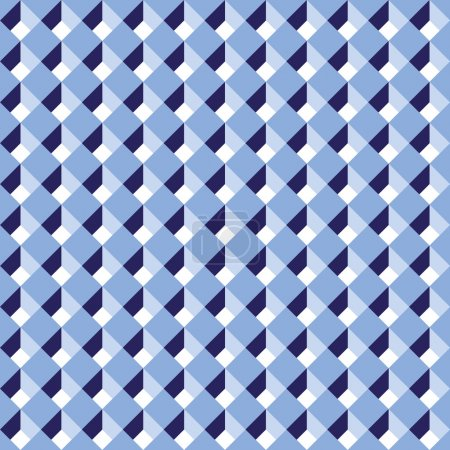 Seamless diagonal blue abstract cube pattern background