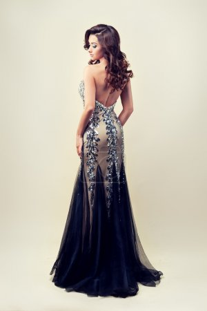Photo pour Vue arrière de la belle dame en robe de soirée argent - image libre de droit