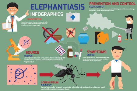 Illustration for Lymphatic Filariasis or Elephantiasis infographics elements, symptom, prevention and control with medical and medicine. vector illustration. - Royalty Free Image