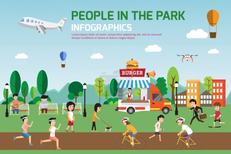 Illustration for Rest in the park infographic elements flat vector design. People spend time relaxing and various activities in nature that have food truck. vector illustration. - Royalty Free Image