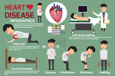 Disease Infographics. Symptoms of heart disease and acute pain p
