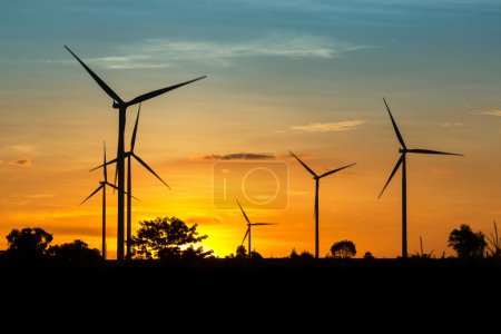 Wind Turbine Farm at Twilight