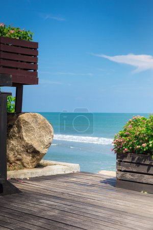 Wooden Terrace with Stair To The Sea