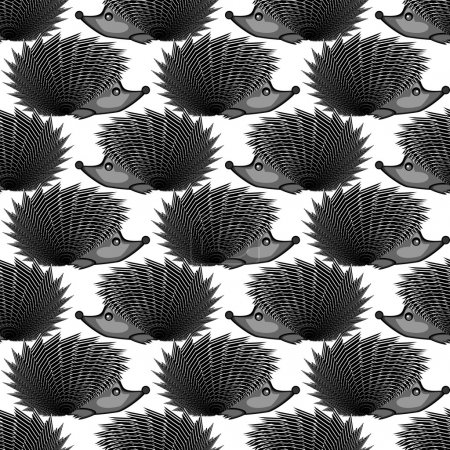 Design monochrome seamless diagonal pattern. Funny hedgehogs bac