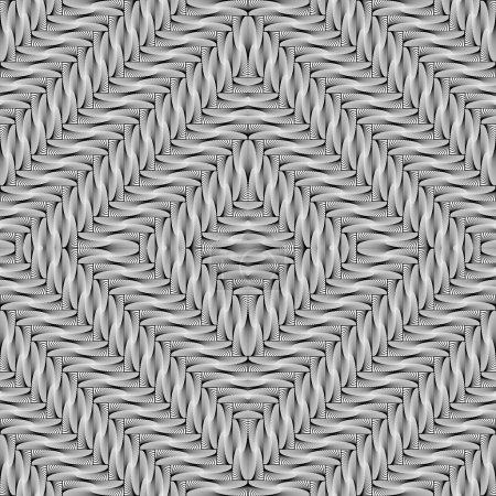 Illustration pour Design motif géométrique diamant monochrome sans couture. Fond rayé abstrait en diagonale. Art vectoriel - image libre de droit