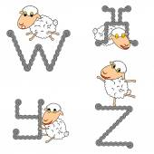 Design ABC with funny cartoon sheep Letters from W to Z