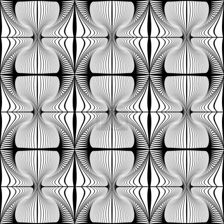 Illustration for Design seamless striped decorative pattern. Abstract monochrome waving lines background. Vector art - Royalty Free Image