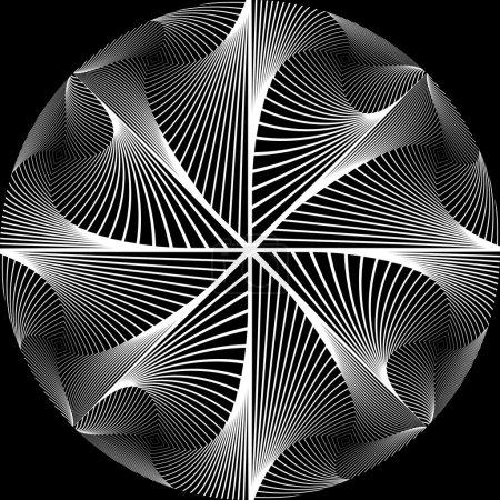 Illustration pour Design monochrome fond abstrait circulaire. Tourbillon mouvement texturé toile de fond. L'art vectoriel. Aucun gradient - image libre de droit