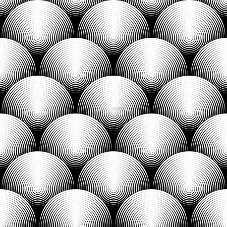Illustration for Design seamless monochrome ellipse pattern. Abstract textured background. Vector art. No gradient - Royalty Free Image