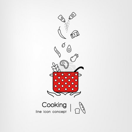 Banner template with icons of art cooking process.