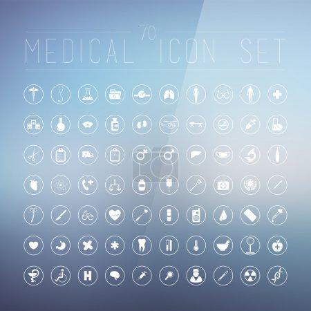 Illustration pour 70 icônes médicales pour le web, Internet, ordinateur, applications mobiles, conception d'interface : médecine personnelle, infirmière, médecin, pilule, thermomètre, santé, pharmacie, hôpital, symbole d'ambulance - image libre de droit