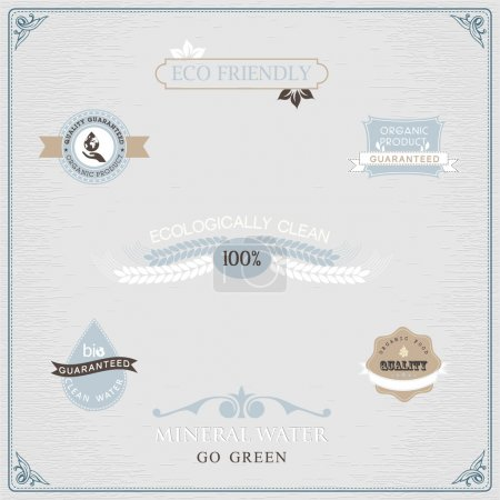 Illustration for Set of organic and farm fresh food badges and labels - Royalty Free Image