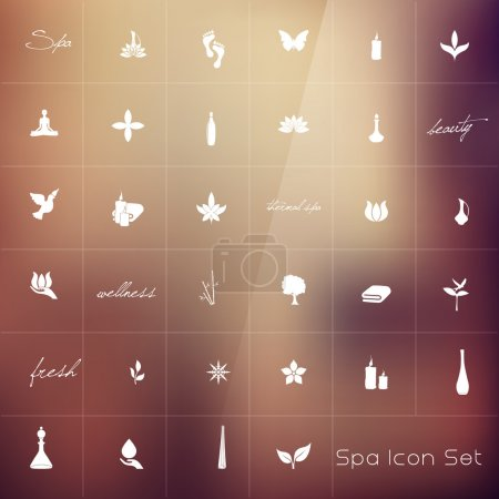 Illustration for Vector illustration of various spa icons - Royalty Free Image