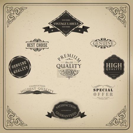Illustration for Retro elements for calligraphic designs. Vintage ornaments. Premium Quality labels. Guaranteed, Coffee and Genuine labels - Royalty Free Image