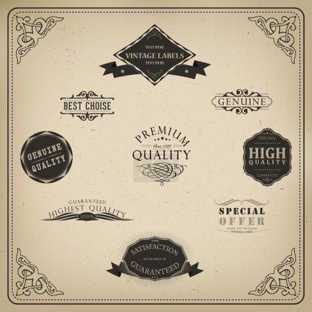 Illustration pour Eléments rétro pour dessins calligraphiques. Ornements vintage. Label de qualité Premium. Étiquettes garanties, café et authentiques - image libre de droit