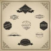 Retro elements for calligraphic designs Vintage ornaments Premium Quality labels Guaranteed Coffee and Genuine labels