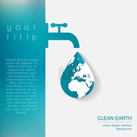 Illustration for Abstract ecology business template with tap, water drop and globe. Vector illustration. - Royalty Free Image