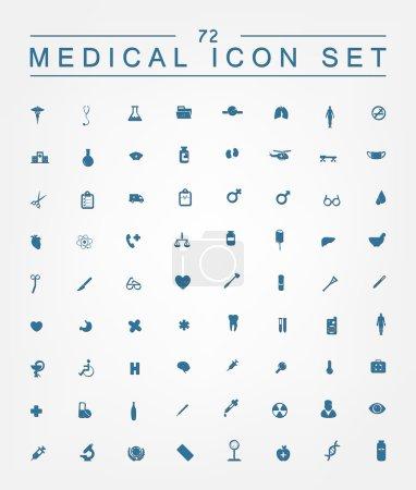 Illustration pour 72 icônes médicales pour le web, Internet, ordinateur, applications mobiles, conception d'interface : médecine personnelle, infirmière, médecin, pilule, thermomètre, santé, pharmacie, hôpital, symbole d'ambulance - image libre de droit