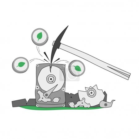 Mining Chia cryptocurrency using a hard drive. Pickaxe smashes the hard drive from which Chia Coin coins fly out. Chia cryptocurrency mining concept. Hand-drawn illustration for business and banks