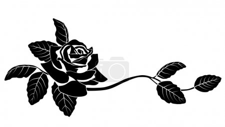 Illustration for Black silhouette of flowers. Vector illustration. - Royalty Free Image