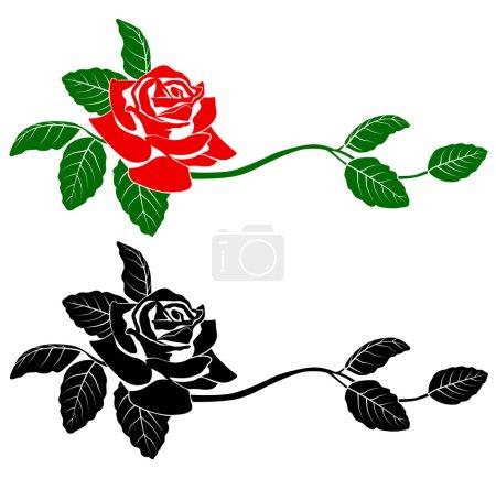 Illustration for Black silhouette of flowers. Vector illustration. - Royalty Free Image