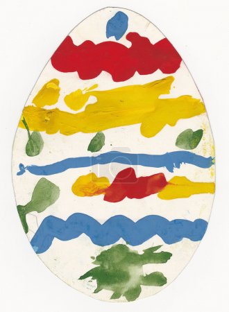 Photo for Original child picture of egg painted with tempera paints - scanned picture of 4 year old girl - Royalty Free Image