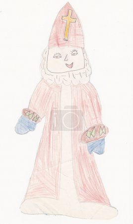 Photo for Saint Nicholas - original scanned picture of 6 year old girl - Royalty Free Image